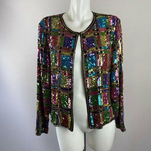 80s Jewel Toned Fully Fully Sequined Jacket XL